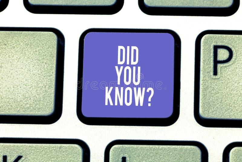Το κείμενο γραψίματος λέξης σας έκανε Knowquestion Επιχειρησιακή έννοια για την ερώτηση εάν ξέρετε προηγουμένως κάτι κλειδί πληκτ στοκ εικόνα