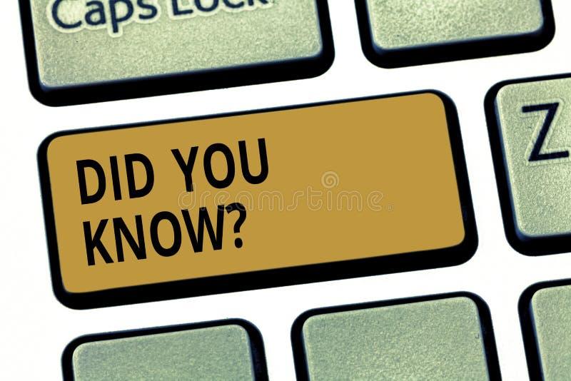Το κείμενο γραψίματος λέξης σας έκανε Knowquestion Επιχειρησιακή έννοια για την ερώτηση εάν ξέρετε προηγουμένως κάτι κλειδί πληκτ στοκ φωτογραφία