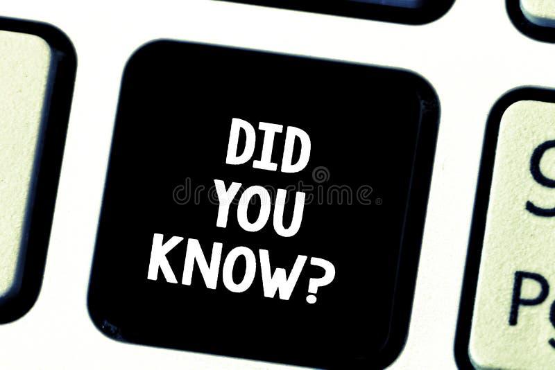 Το κείμενο γραψίματος λέξης σας έκανε Knowquestion Επιχειρησιακή έννοια για την ερώτηση εάν ξέρετε προηγουμένως κάτι κλειδί πληκτ στοκ εικόνα με δικαίωμα ελεύθερης χρήσης