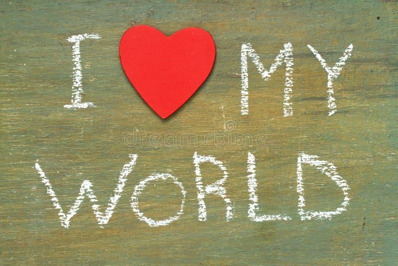Το κείμενο ι αγαπά τον κόσμο μου στοκ φωτογραφίες με δικαίωμα ελεύθερης χρήσης