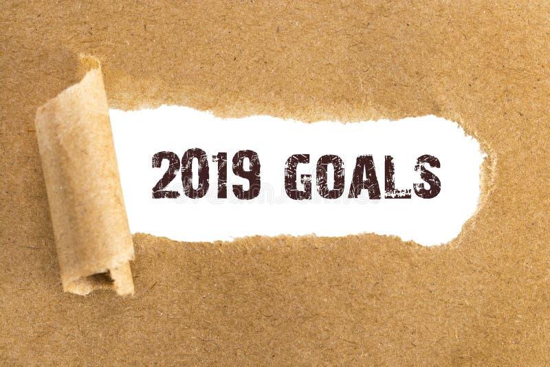 Το κείμενο 2019 στόχοι που εμφανίζονται πίσω από το σχισμένο καφετί έγγραφο στοκ φωτογραφία με δικαίωμα ελεύθερης χρήσης