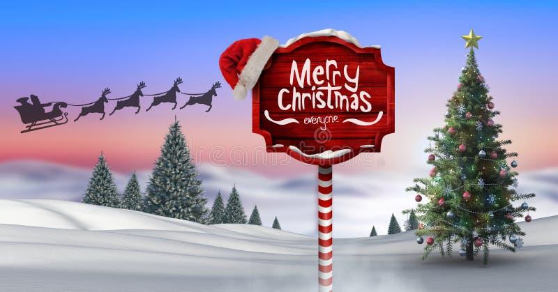 Το κείμενο Χαρούμενα Χριστούγεννας σε ξύλινο καθοδηγεί στο χειμερινό τοπίο Χριστουγέννων με το χριστουγεννιάτικο δέντρο και Santa διανυσματική απεικόνιση