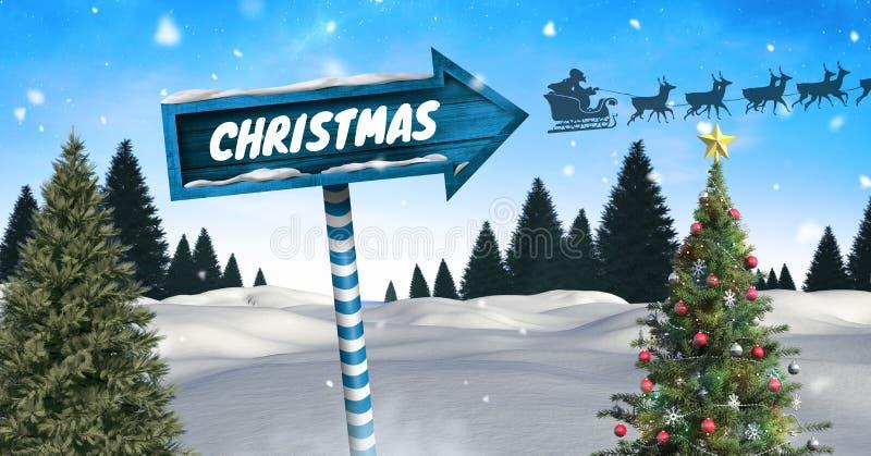 Το κείμενο Χριστουγέννων σε ξύλινο καθοδηγεί στο χειμερινό τοπίο Χριστουγέννων με το χριστουγεννιάτικο δέντρο και το slei Santa ` απεικόνιση αποθεμάτων