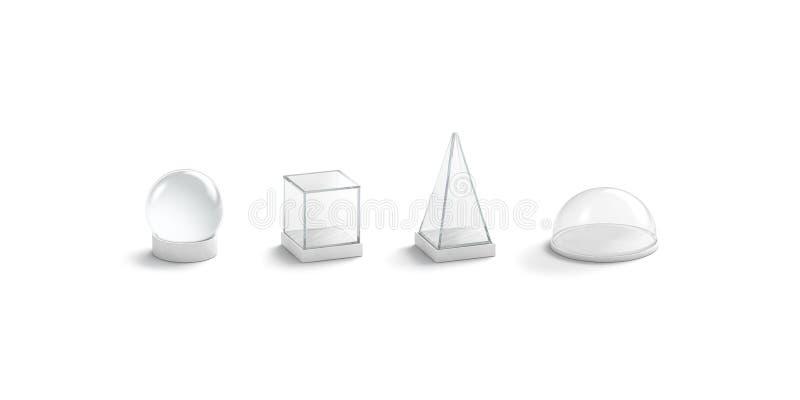 Το κενό άσπρο γυαλί καλύπτει το σύνολο προτύπων δια θόλου, που απομονώνεται διανυσματική απεικόνιση