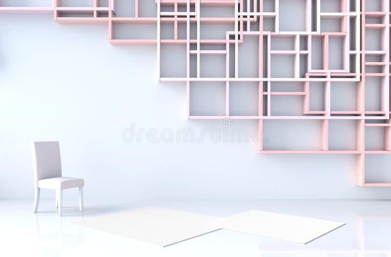 Το κενό άσπρο δωμάτιο τρισδιάστατο δίνει ελεύθερη απεικόνιση δικαιώματος