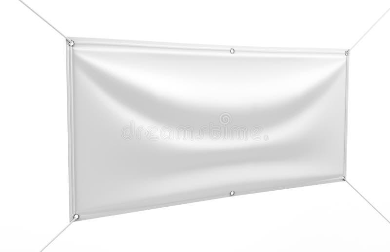 Το κενό άσπρο εσωτερικό υπαίθριο βινυλίου έμβλημα υφάσματος & Scrim για την τυπωμένη ύλη σχεδιάζει το presentaion η τρισδιάστατη  απεικόνιση αποθεμάτων
