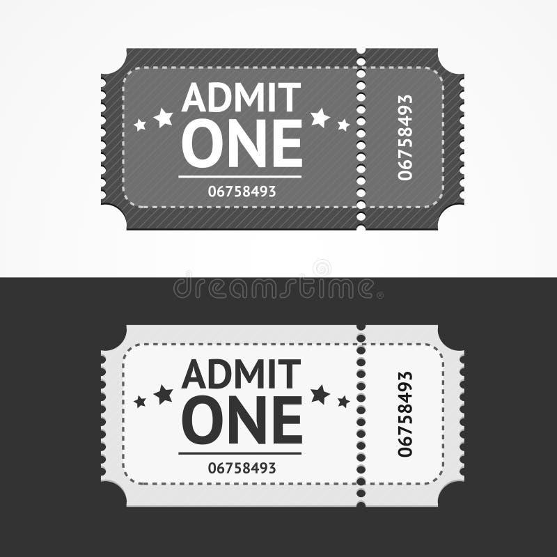 Το κενό εικονιδίων εισιτηρίων αναγνωρίζει το σύνολο διάνυσμα διανυσματική απεικόνιση