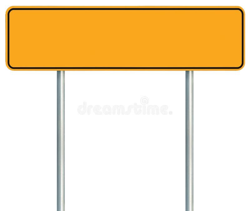 Κενό κίτρινο οδικό σημάδι, απομονωμένο μεγάλο διάστημα αντιγράφων προειδοποίησης, μαύρο στοκ εικόνα