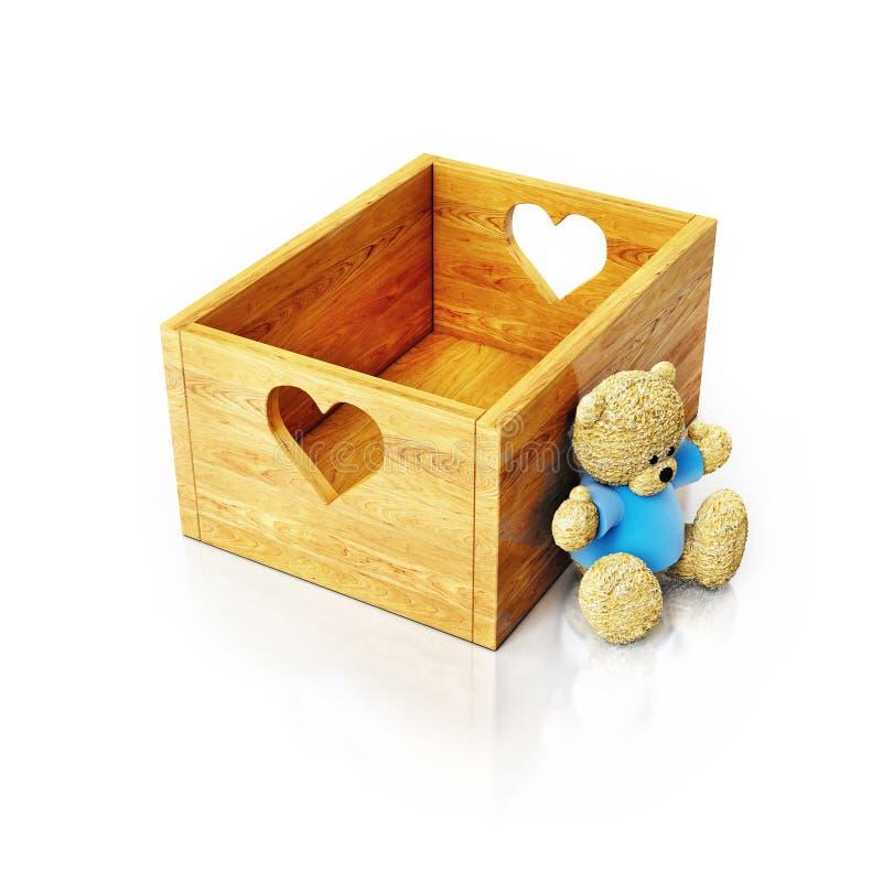 Το κενό ξύλινο κιβώτιο αποθήκευσης με τους κατόχους καρδιών και teddy αντέχει απεικόνιση αποθεμάτων