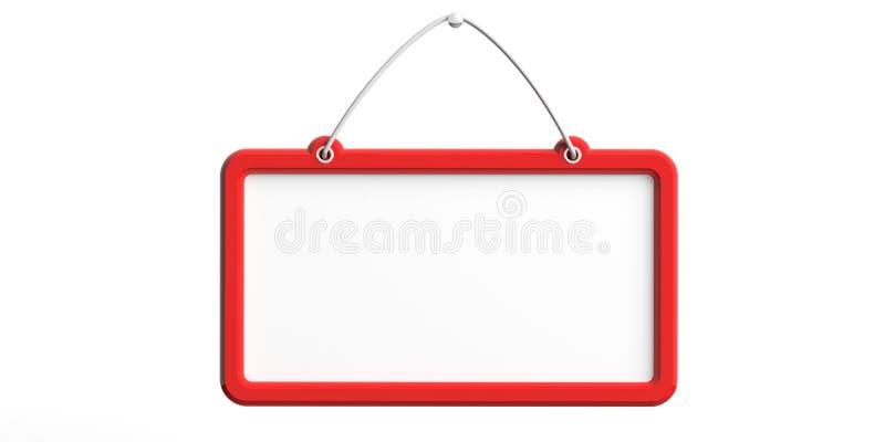 Το κενό σημάδι με την κόκκινη ένωση πλαισίων στο άσπρο υπόβαθρο τοίχων, αποκόπτει τρισδιάστατη απεικόνιση απεικόνιση αποθεμάτων