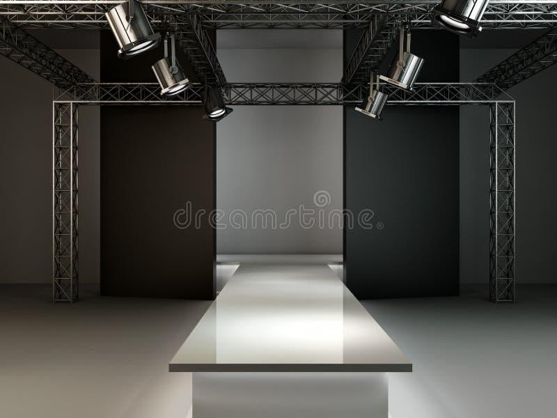 Το κενό σκηνικό εσωτερικό ρεαλιστικό υπόβαθρο εξεδρών διαδρόμων μόδας τρισδιάστατο δίνει την απεικόνιση απεικόνιση αποθεμάτων