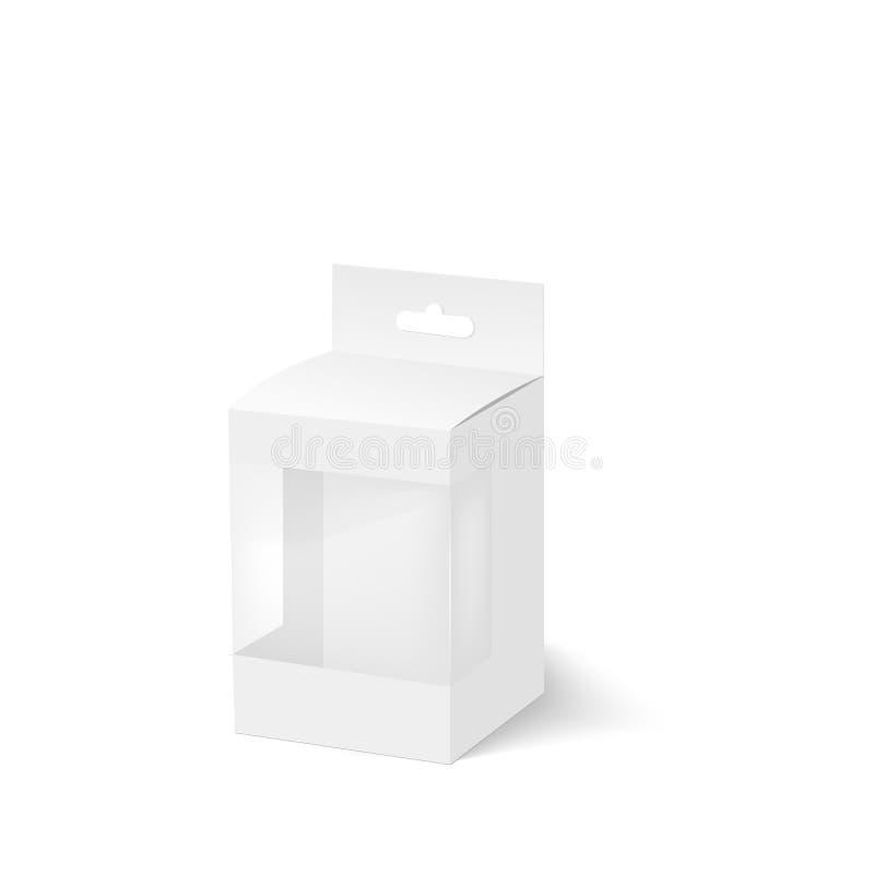 Το κενό του κιβωτίου με το πλαστικό παράθυρο και κρεμά την αυλάκωση διάνυσμα διανυσματική απεικόνιση