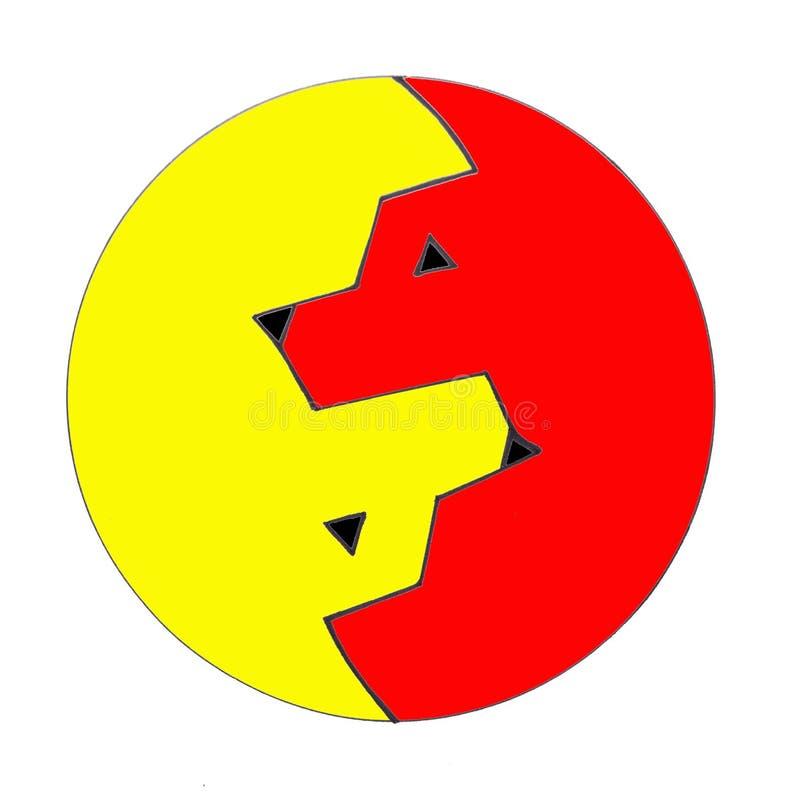 Το κεφάλι ενός κόκκινου λύκου και το κεφάλι ενός κίτρινου λύκου ελεύθερη απεικόνιση δικαιώματος