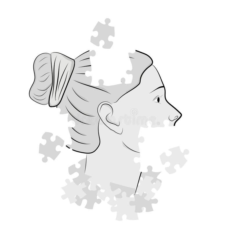 Το κεφάλι μιας γυναίκας στους γρίφους επίσης corel σύρετε το διάνυσμα απεικόνισης απεικόνιση αποθεμάτων