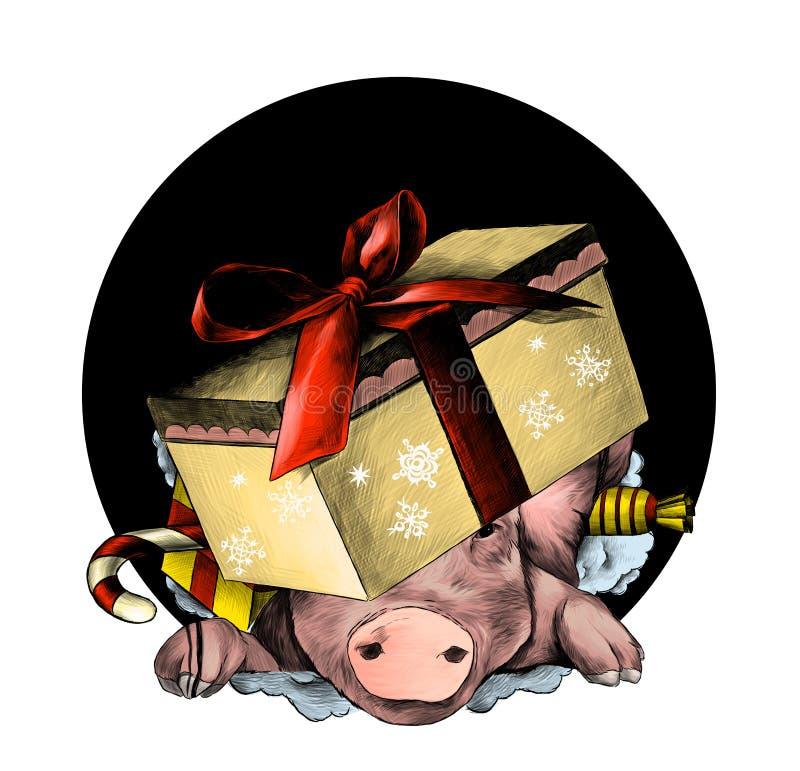 Το κεφάλι του χοίρου Χριστουγέννων σε ένα εορταστικό κουτί από χαρτόνι με ένα τόξο στο κεφάλι του αναρριχείται από την τρύπα απεικόνιση αποθεμάτων
