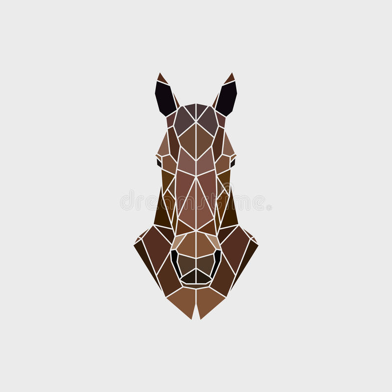 Το κεφάλι ενός άγριου μάστανγκ αλόγων κατά κάποιο τρόπο της polygonal γραφικής παράστασης απεικόνιση αποθεμάτων