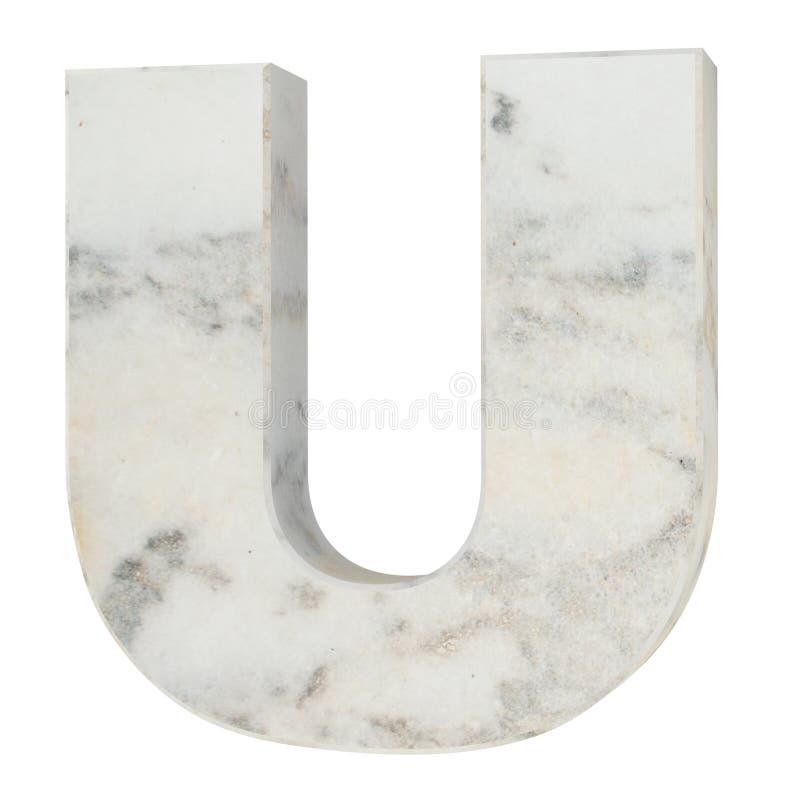 Το κεφαλαίο γράμμα - U από την πέτρα η τρισδιάστατη απεικόνιση δίνει ελεύθερη απεικόνιση δικαιώματος
