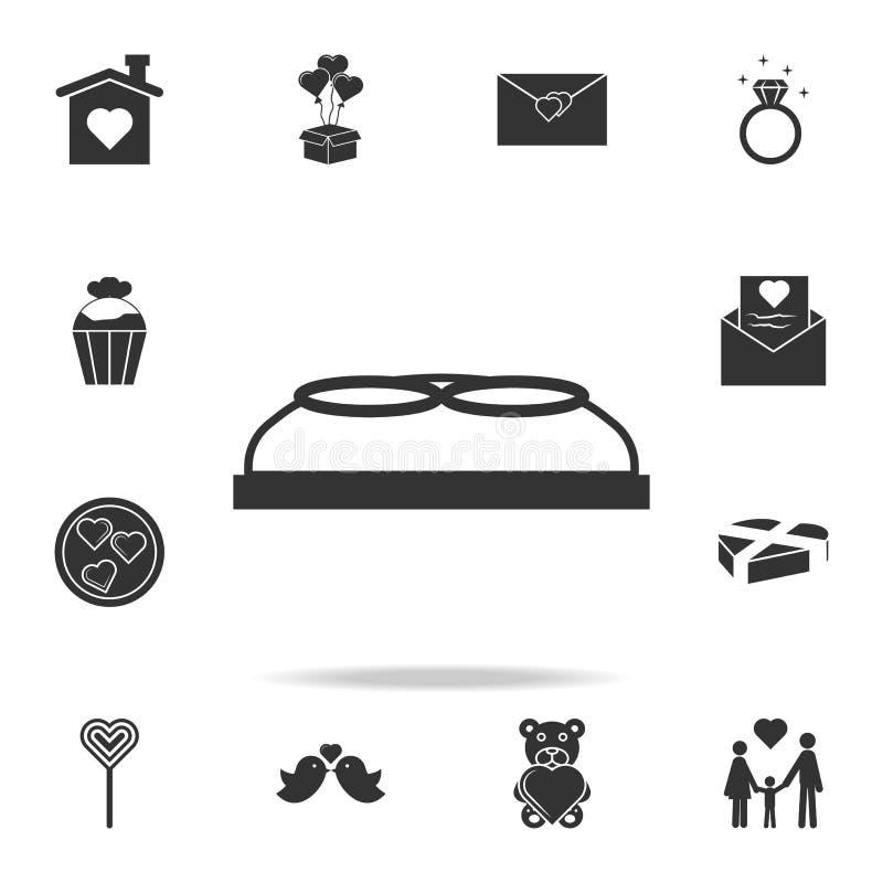 το κιβώτιο με το γάμο χτυπά το εικονίδιο Αγάπη ή εικονίδιο στοιχείων ζευγών Λεπτομερές σύνολο σημαδιών και στοιχεία των εικονιδίω ελεύθερη απεικόνιση δικαιώματος