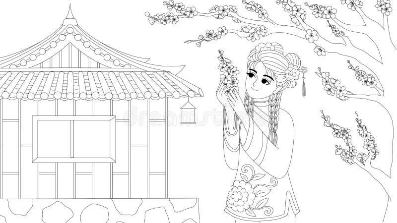 Το κινεζικό κορίτσι που φορά το παραδοσιακό κοστούμι απολαμβάνει τα λουλούδια δαμάσκηνων κάτω από το δέντρο, για το στοιχείο σχεδ απεικόνιση αποθεμάτων
