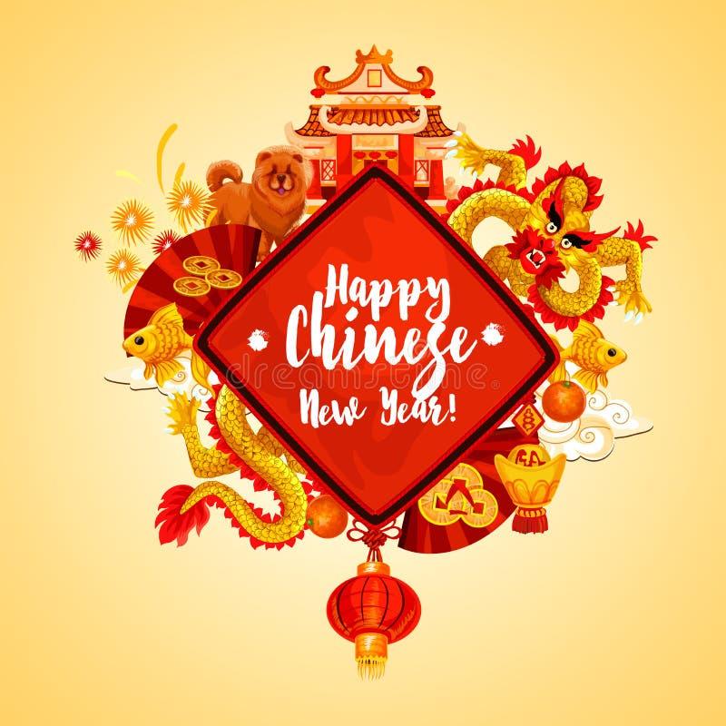 Το κινεζικό νέο έτος διακοσμεί την κάρτα των ασιατικών διακοπών ελεύθερη απεικόνιση δικαιώματος
