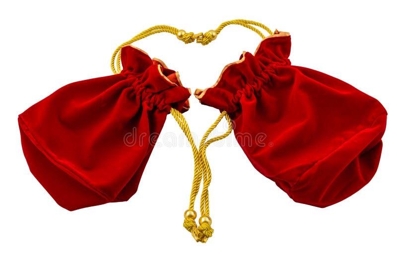 Το κινεζικό νέο κόκκινο ύφασμα ή το μετάξι έτους τοποθετεί σε σάκκο, ANG pow της τύχης isolat στοκ εικόνες