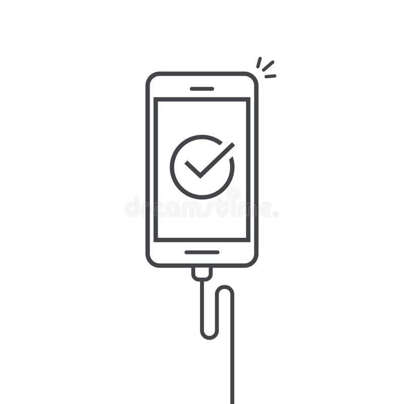 Το κινητό τηλέφωνο σύνδεσε το φορτιστή καλωδίων διανυσματική απεικόνιση, smartphone τέχνης περιλήψεων γραμμών με checkmark ή κρότ ελεύθερη απεικόνιση δικαιώματος