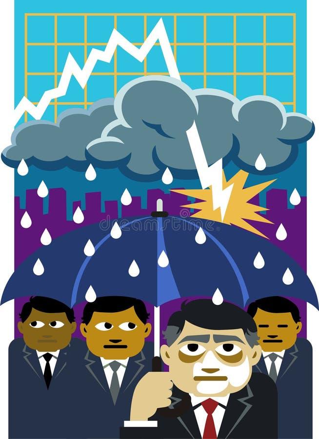 το κλίμα υγραίνει την οικονομική υποχώρηση στοκ εικόνες