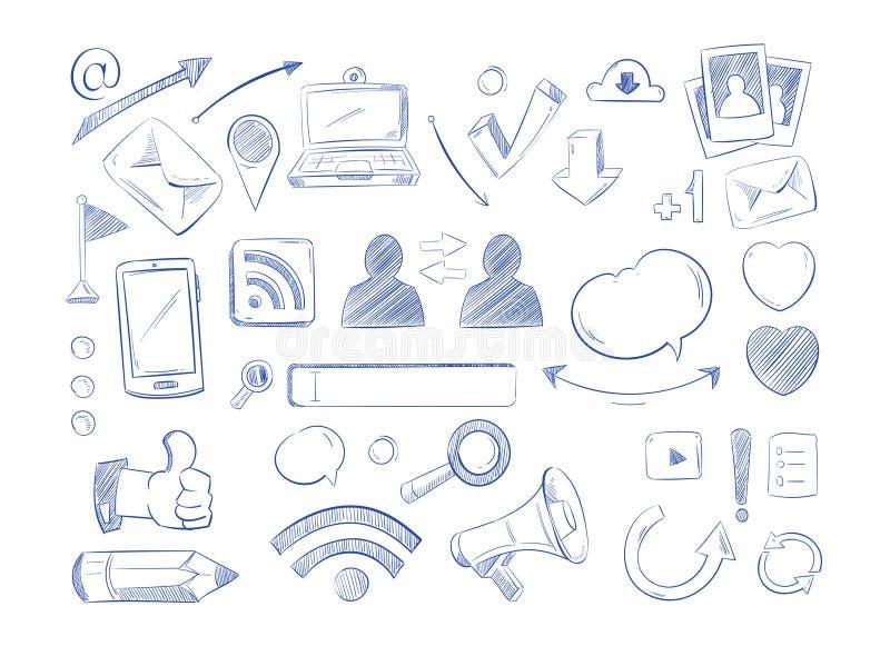 Το κοινωνικό διάνυσμα δικτύων μέσων doodles, χέρι υπολογιστών Διαδικτύου σύρει τα εικονίδια ελεύθερη απεικόνιση δικαιώματος
