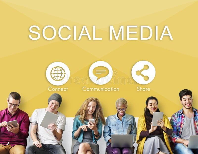 Το κοινωνικό μερίδιο επικοινωνίας μέσων συνδέει την έννοια στοκ εικόνα με δικαίωμα ελεύθερης χρήσης
