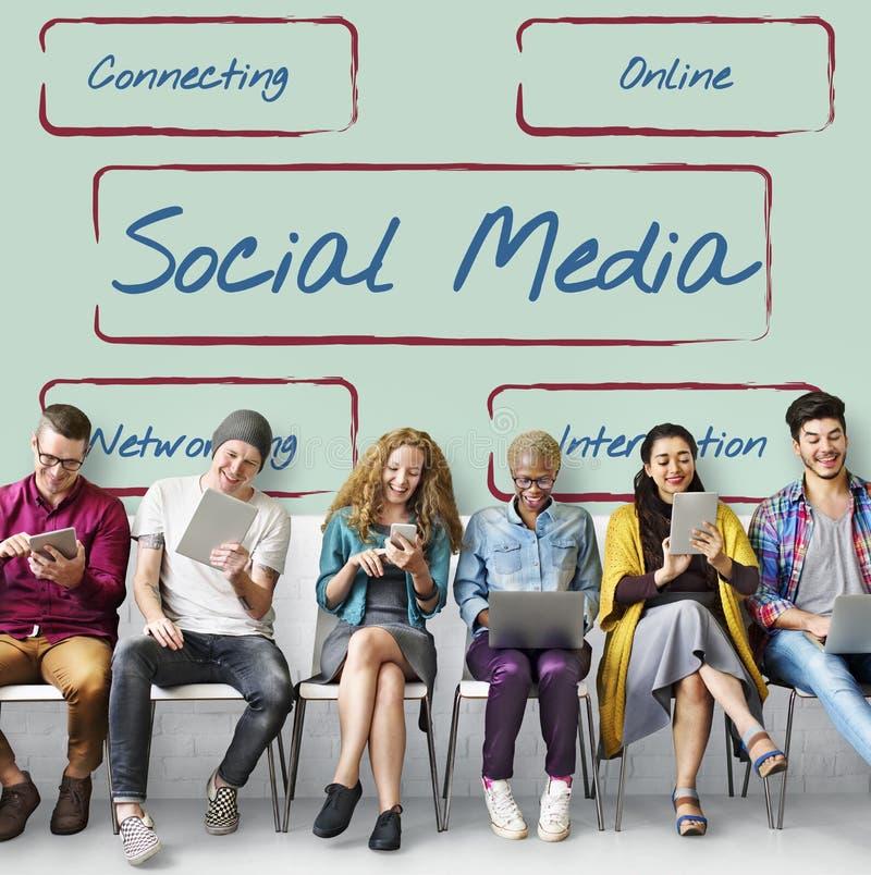 Το κοινωνικό μερίδιο επικοινωνίας μέσων συνδέει την έννοια στοκ εικόνες