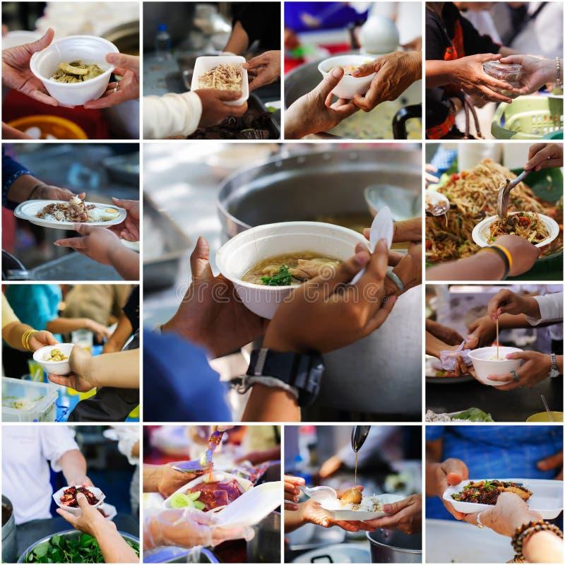 Το κολάζ τα χέρια των φτωχών λαμβάνει τα τρόφιμα από τους εθελοντές: προσφέρεται εθελοντικά το δόσιμο των τροφίμων στους φτωχούς  στοκ εικόνες