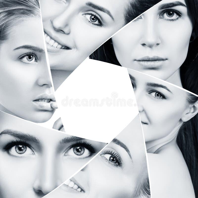 Το κολάζ της όμορφης γυναίκας αντιμετωπίζει giaphragm στοκ φωτογραφίες με δικαίωμα ελεύθερης χρήσης