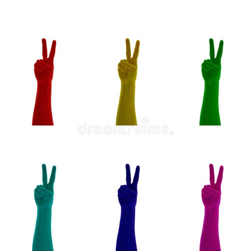 Το κολάζ του σημαδιού χεριών που δείχνει επάνω το αντίχειρα χρωμάτισε στο κόκκινο, κίτρινος, πράσινος, μπλε, κυανός, ρόδινο, ροδα απεικόνιση αποθεμάτων
