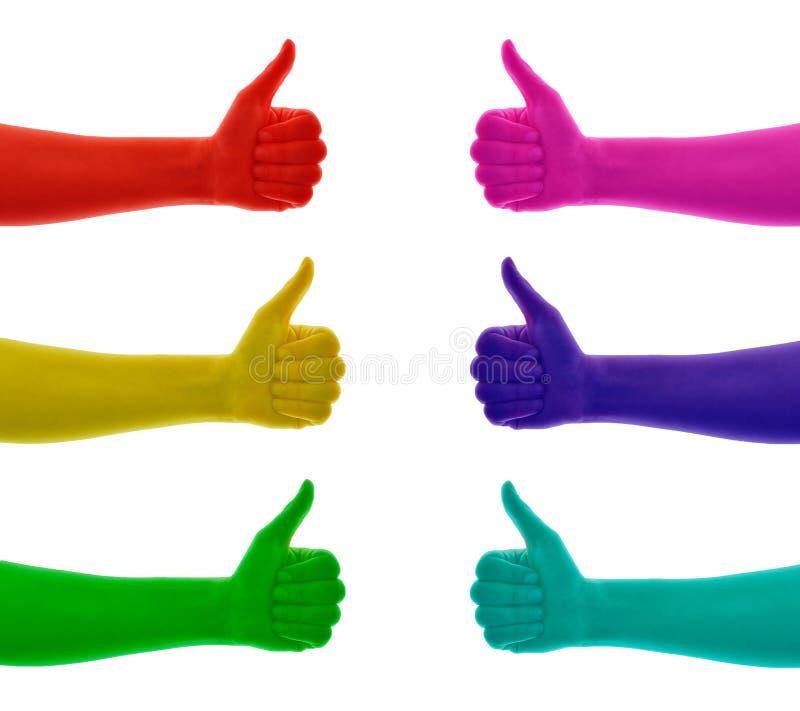 Το κολάζ των αντίχειρων επάνω στο χέρι χρωμάτισε στο κόκκινο, κίτρινος, πράσινος, μπλε, κυανός, ρόδινο, ροδανιλίνη ελεύθερη απεικόνιση δικαιώματος