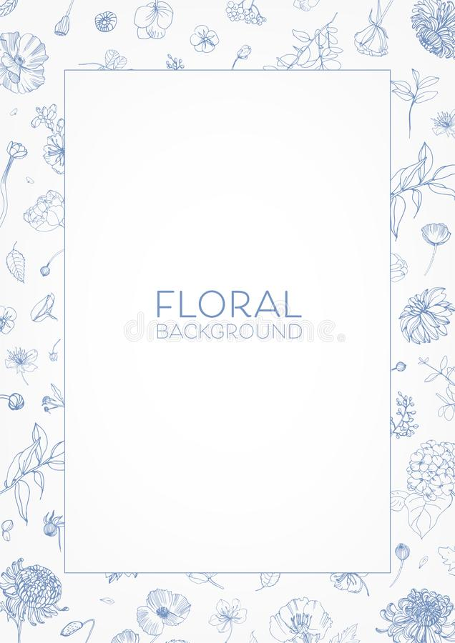 Το κομψά διακοσμητικά floral πλαίσιο ή τα σύνορα με τα ανθίζοντας λουλούδια κήπων δίνει συμένος με τις μπλε γραμμές περιγράμματος διανυσματική απεικόνιση