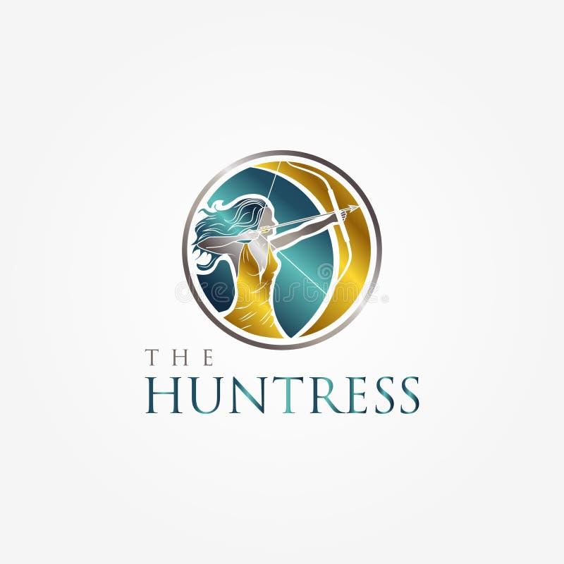 Το κομψό σύμβολο λογότυπων τοξοβολίας Huntress με το χρώμα μετάλλων απεικόνιση αποθεμάτων