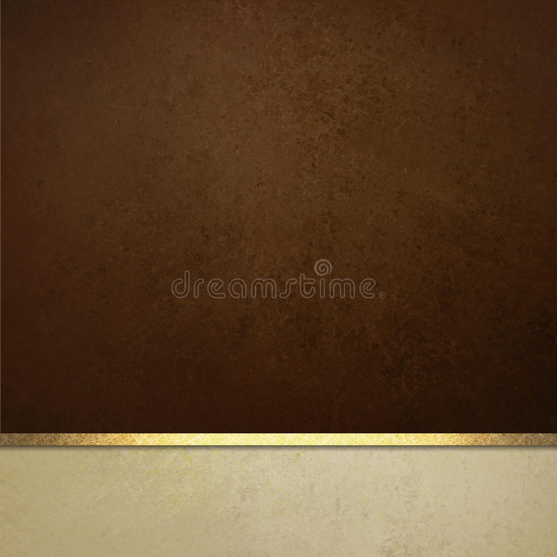 Το κομψό υπόβαθρο καφετιού εγγράφου με τα άσπρα σύνορα και η χρυσή κορδέλλα τακτοποιούν ή λωρίδα στοκ εικόνα