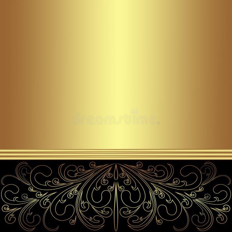 Το κομψό χρυσό υπόβαθρο διακόσμησε τα διακοσμητικά δαντελλωτός σύνορα ελεύθερη απεικόνιση δικαιώματος