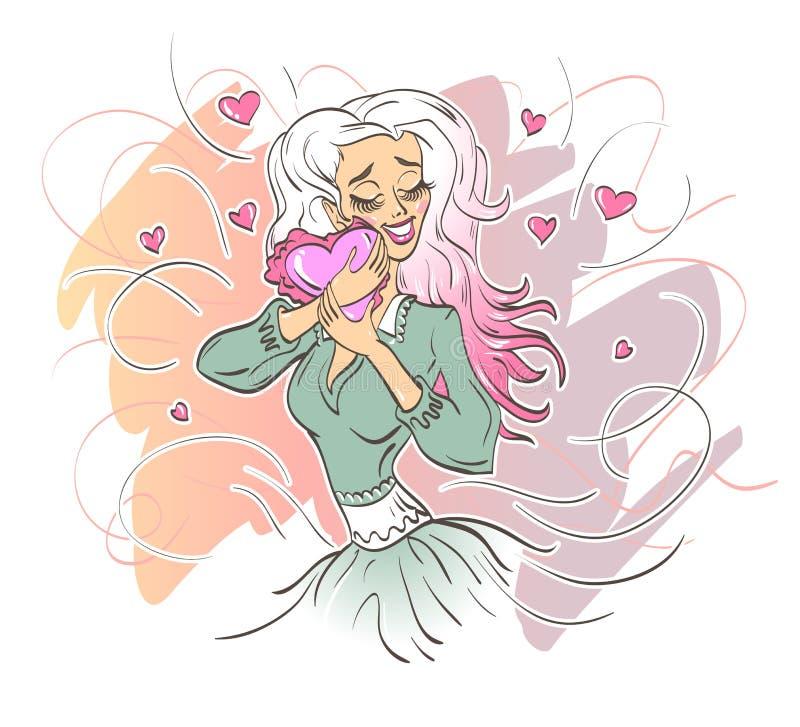 Το κορίτσι αγκαλιάζει την καρδιά της αγάπης ελεύθερη απεικόνιση δικαιώματος