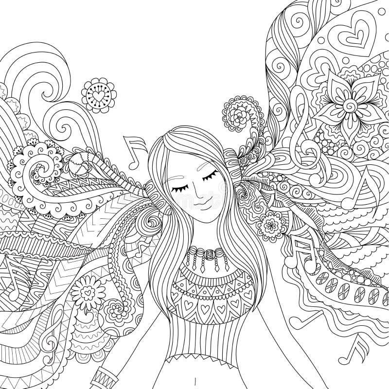 Το κορίτσι ακούει το ενήλικο χρωματίζοντας βιβλίο μουσικής απεικόνιση αποθεμάτων