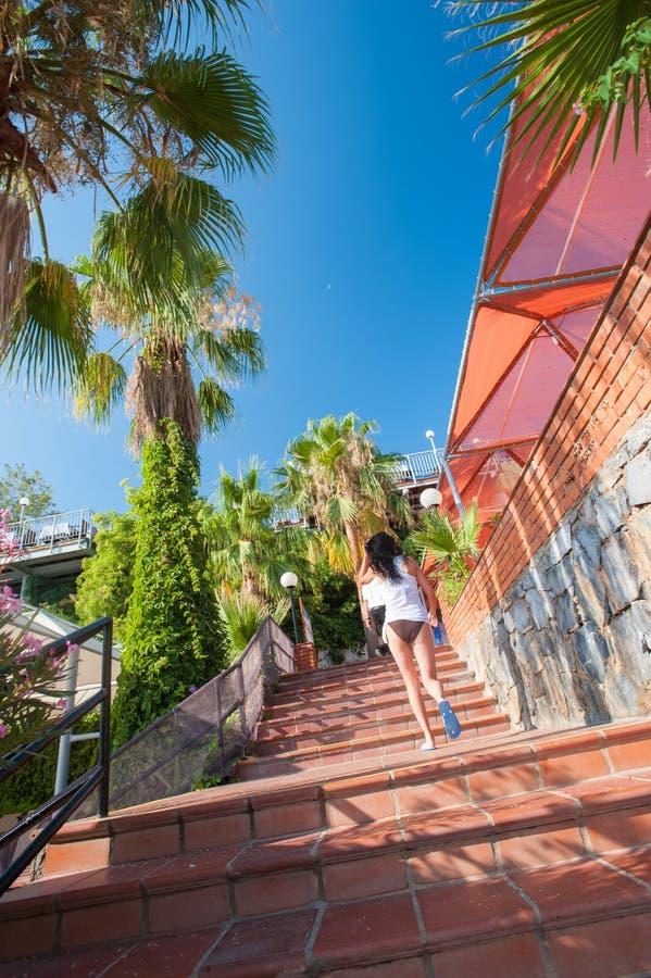 Το κορίτσι αναρριχείται στα κόκκινα σκαλοπάτια, φοίνικες, υπόλοιπο, ήλιος στοκ φωτογραφία