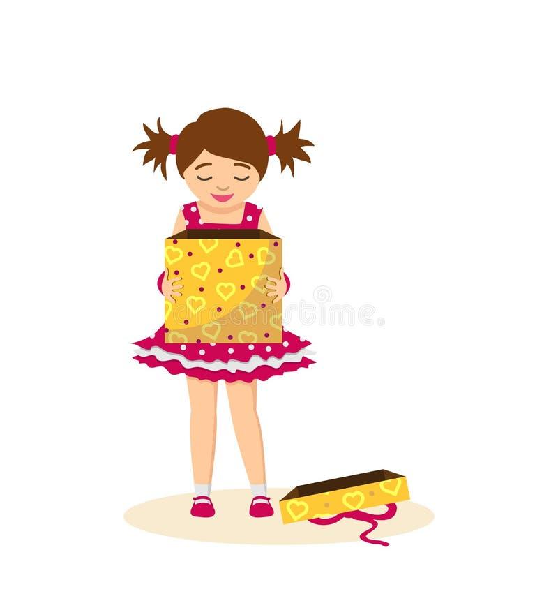 Το κορίτσι ανοίγει ένα δώρο γενεθλίων, περιμένοντας την έκπληξη διανυσματική απεικόνιση