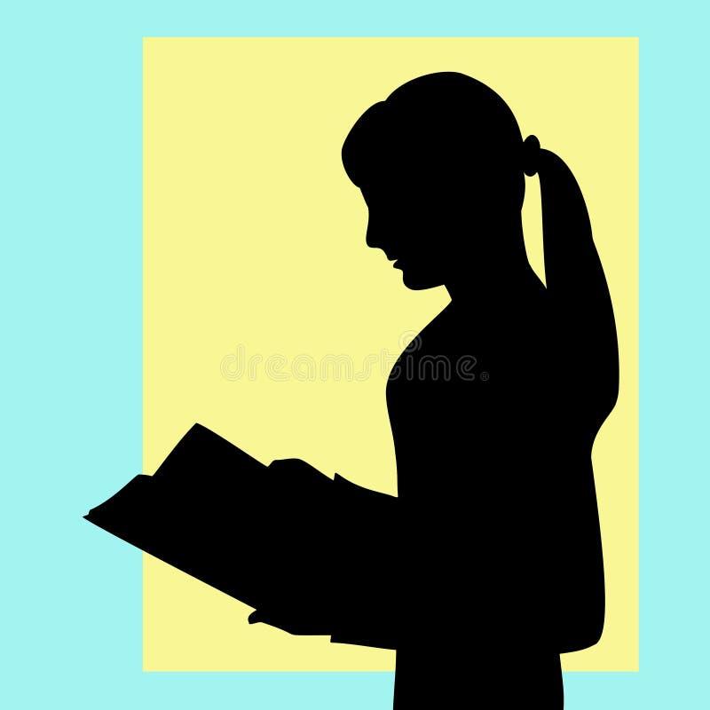 Το κορίτσι διαβάζει το βιβλίο προσεκτικά, λαμβάνει τις νέες πληροφορίες, προετοιμασία διανυσματική απεικόνιση