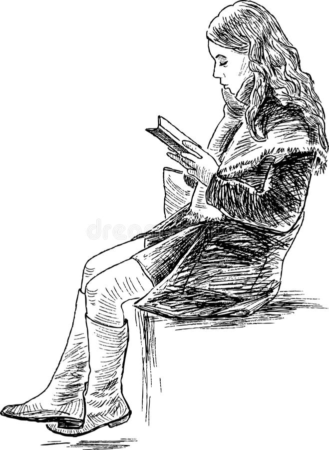 Το κορίτσι διαβάζει ένα βιβλίο ελεύθερη απεικόνιση δικαιώματος