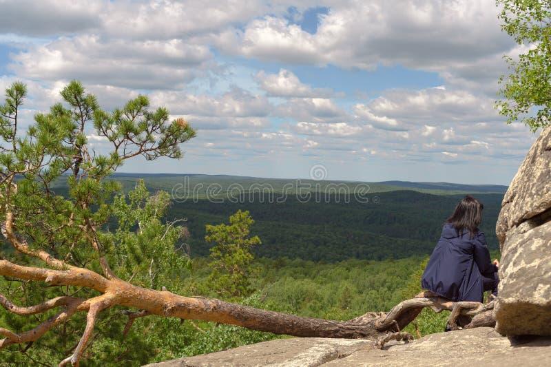Το κορίτσι κάθεται σε ένα δέντρο πεύκων οριζόντια ανάπτυξης στην άκρη ενός απότομου βράχου στοκ εικόνες
