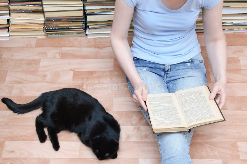 Το κορίτσι κάθεται στο πάτωμα και διαβάζει ένα βιβλίο δίπλα μαύρο να βρεθεί γατών Κινηματογράφηση σε πρώτο πλάνο στοκ φωτογραφία με δικαίωμα ελεύθερης χρήσης