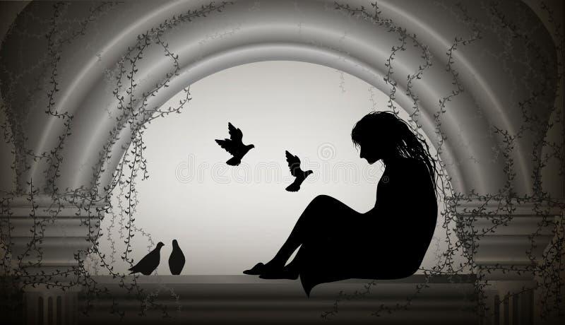 Το κορίτσι κάθεται στο παράθυρο και το κοπάδι της μύγας περιστεριών σε την, το κορίτσι κάθεται στην ντεμοντέ σοφίτα με τη στήλη κ διανυσματική απεικόνιση