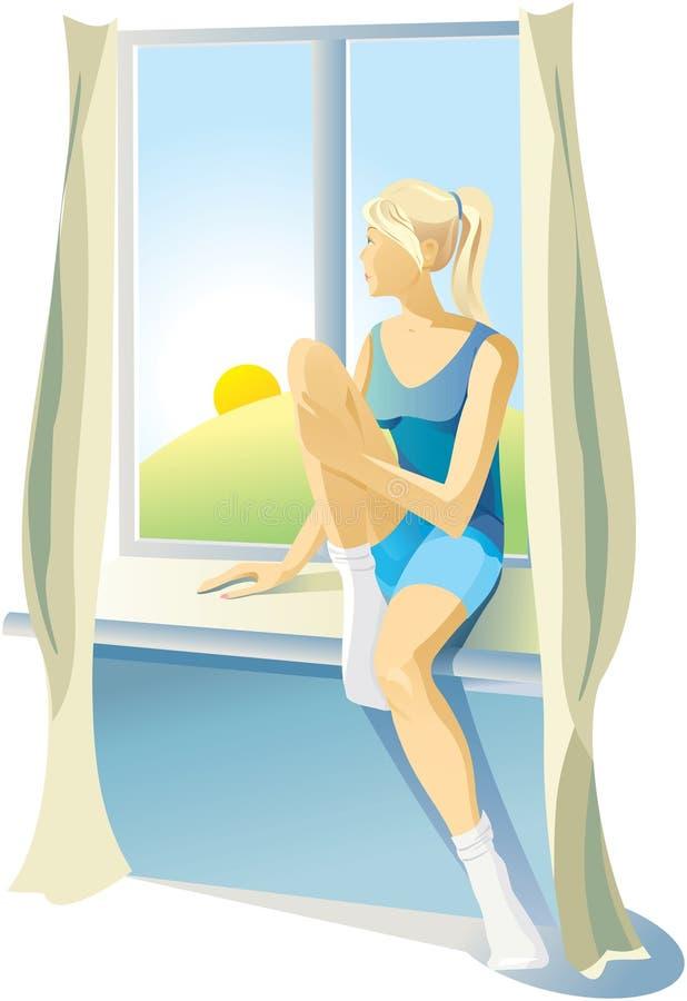 Το κορίτσι κάθεται στο windowsill κοντά στο παράθυρο απεικόνιση αποθεμάτων