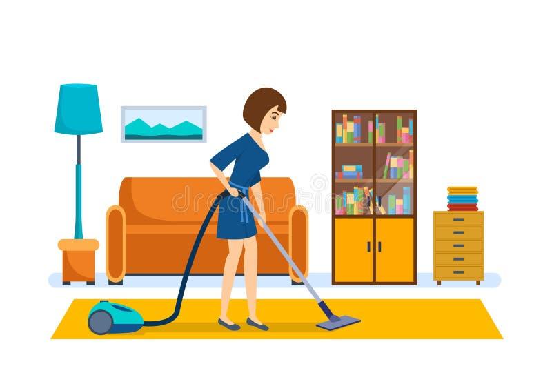 Το κορίτσι καθαρίζει, σκουπίζοντας με ηλεκτρική σκούπα στο δωμάτιο, υποβάλλοντας τη διαταγή ελεύθερη απεικόνιση δικαιώματος