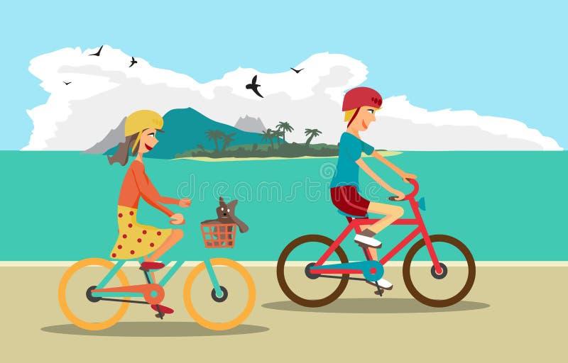 Το κορίτσι και το αγόρι οδηγούν το ποδήλατο στην παραλία Υγιής ελεύθερος χρόνος διανυσματική απεικόνιση